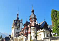 Peles Castle 2. PeleÈ™ Castle is a Neo-Renaissance castle in the Carpathian Mountains, near Sinaia, in Prahova County, Romania, on an existing medieval route royalty free stock image