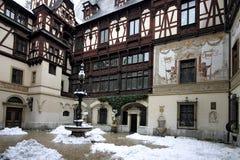 Peles Castle. A winter scene of Peles Castle, Romania Stock Image