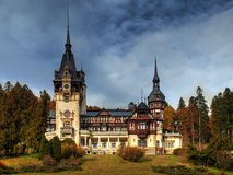 Peles Castle. Frontal view of Peles Castle and its architecture Royalty Free Stock Image