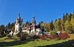 Peles Castle 3. PeleÈ™ Castle is a Neo-Renaissance castle in the Carpathian Mountains, near Sinaia, in Prahova County, Romania, on an existing medieval route stock photo
