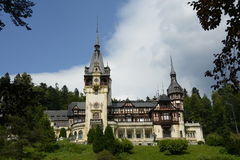 Peles Castle in a beautiful summer hot day. Peles Castle in a summer day Sinaia Romania Stock Photo