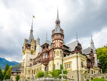 Peles Castle in the Carpathian Mountains. In Romania built for the Romanian Royal Family royalty free stock photography