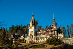 Peles Castle in the Carpathians Mountains, Romania. Stock Images