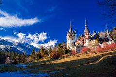 Peles Castle in the Carpathians Mountains, Romania. Peles Castle is built in neo-renaissance style. It is placed in an idyllic setting in Bucegi Mountains (the royalty free stock image