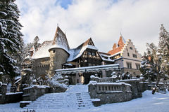 Peles Castle Complex with cannons, Sinaia, Romania Royalty Free Stock Images