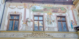 The Peles Castle, detail of exterior wall Stock Photography