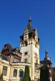 Peles Castle Facade. PeleÈ™ Castle is a Neo-Renaissance castle in the Carpathian Mountains, near Sinaia, in Prahova County, Romania, on an existing medieval stock images
