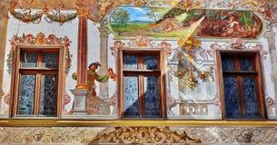 Peles Castle. Facade detail in Sinaia village, Romania Stock Photos