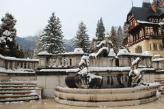 The Peles Castle fountain Royalty Free Stock Images