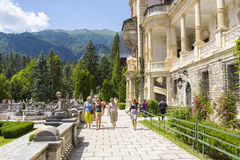 Peles castle garden stock photos