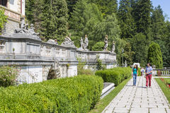 Peles castle garden royalty free stock images