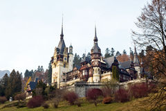 Peles Castle II. View from Peles Castle from Sinaia,  now National Museum, was former residence of the first King of Romania, Carol I of Hohenzollern-Sigmaringen Stock Photo