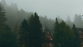Peles Castle and a Misty Pine Tree Forest in Sinaia, Transylvania, Romania - East View. A panoramic east-side view of the Neo-Renaissance Peles Castle in Romania stock footage