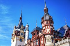 Peles Castle towers architectural detail Royalty Free Stock Photos