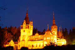 Peles Castle in night time. The Peles Castle, from Romania Stock Image
