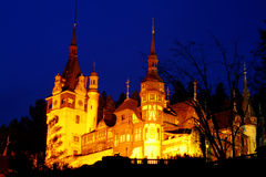 Peles Castle in night time. The Peles Castle, from Romania Stock Photo
