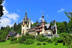 Peles Castle. One of the most spectacular castles in eastern Europe, the romanian Peles Castle Royalty Free Stock Photography