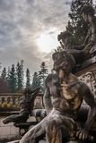 Peles castle ornamental garden, Sinaia, Romania. Landmark of Car. Pathian mountains in Europe Stock Photo