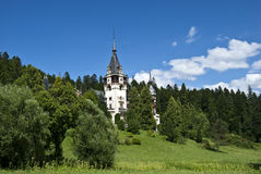 Peles Castle, Romania. A view from left-front side of Peles Castle located in Sinaia, Romania Stock Images