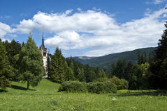 Peles Castle, Romania. A view from left-front side of Peles Castle located in Sinaia, Romania Stock Photos
