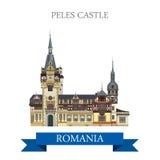 Peles Castle Romania Europe flat vector attraction landmark. Peles Castle in Romania. Flat cartoon style historic sight showplace attraction web site vector Stock Photo