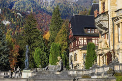 Peles Castle, Romania. Famous royal  and garden in Sinaia. Peles Castle, Romania. Famous royal castle and garden in Sinaia in autumn Royalty Free Stock Image