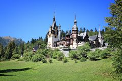 Peles Castle, Romania. Romania landmark - Peles Castle. Renaissance revival style architecture Stock Photo