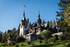 Peles Castle in Romania from the outside stock photo
