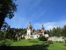 Peles Castle from Sinaia resort in Romania Royalty Free Stock Photos