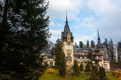 Peles castle, Sinaia, Romania on a beautiful autumn day.  Stock Photo