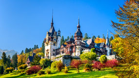 Peles Castle, Sinaia, Romania. Peles Castle, Romania. Beautiful famous royal castle and ornamental garden in Sinaia landmark of Carpathian Mountains in Europe Stock Images