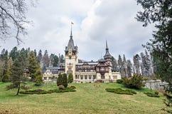 The Peles Castle from Sinaia Romania, Carpathian Mountains Stock Photos