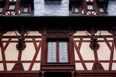 Peles castle, Sinaia, Romania. Inner courtyard walls.  Royalty Free Stock Photo