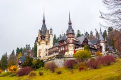 Peles castle, Sinaia, Romania.Overcast on a beautiful autumn day.  royalty free stock photo