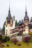 Peles castle, Sinaia, Romania.Overcast on a beautiful autumn day. Tight view stock images