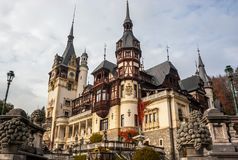 Peles castle, Sinaia, Romania.Overcast on a beautiful autumn day. Tight view stock image