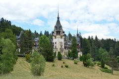 Romania Peles castle. Peles castle in Sinaia, Romania stock photo