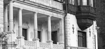 Peles castle, Sinaia, Romania.Royal balcony. Black and white.  Royalty Free Stock Photography