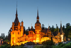 Peles Castle in Sinaia, twilight view, Romania Royalty Free Stock Images