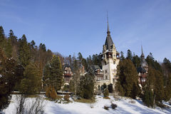 Peles Castle situated in Sinaia, Roman. Peles Castle situated in the Carpathian Mountains, Sinaia, Romania royalty free stock photography