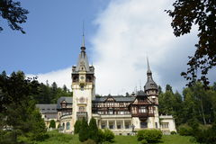 Peles Castle in a summer hot day. Peles Castle in a summer day Sinaia Romania Royalty Free Stock Images