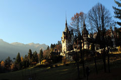 Peles Castle in the sunset Royalty Free Stock Photography