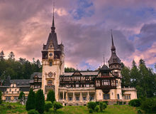 Peles Castle, Romania. Peles Castle at sunset in Sinaia village, Romania, is a Neo-Renaissance castle in the Carpathian Mountains in Prahova County on an stock image