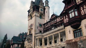 Peles Castle tilt,Sinaia,Romania stock video footage