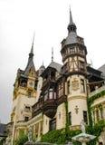 Peles Castle Front Angle view. Peles Castle - touristic landmark on Prahova Valley near Sinaia Royalty Free Stock Photo