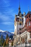 Peles Castle towers in a clear winter day Royalty Free Stock Photo
