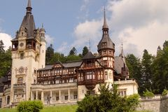Peles castle and trees Stock Image