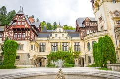 Peles Castle view of the front facade. In Sinaia town of Romania on a sunny summer day Stock Photo