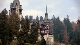 Peles Castle zoom out,Sinaia,Romania stock video