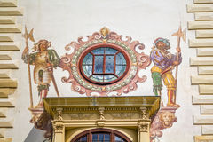 Peles Museum-detail. Painting on tower wall of Peles Museum, Sinaia Stock Images